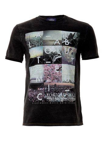 Wash Black Tokyo Roll Up Crew Neck T-shirt