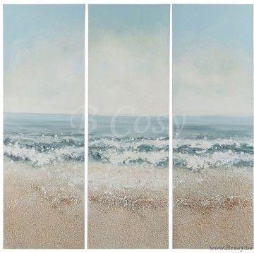 J-Line Schilderij Golven Strand Canvas-Hout Blauw-Bruin 90H Assortiment van 3 stuks. Jline-by-Jolipa-70114
