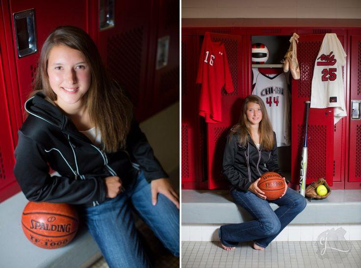 basketball senior pictures; locker room