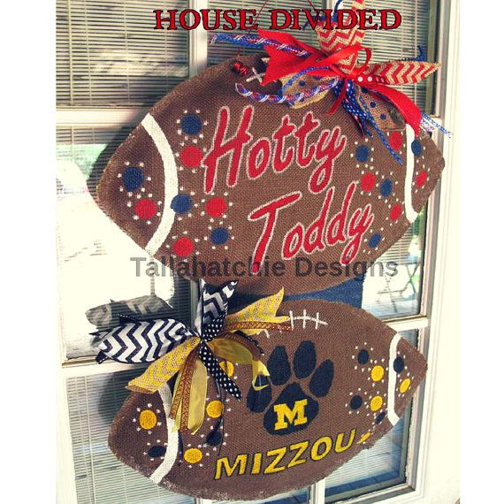 Burlap Football Door Hanger House Divided Football Football Door Hanger Collegiate Tailgating Hand painted Door Hanger Football