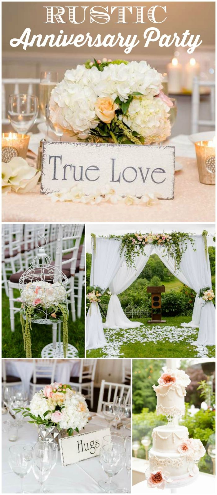 How gorgeous is this rustic anniversary party?! See more party ideas at CatchMyParty.com!