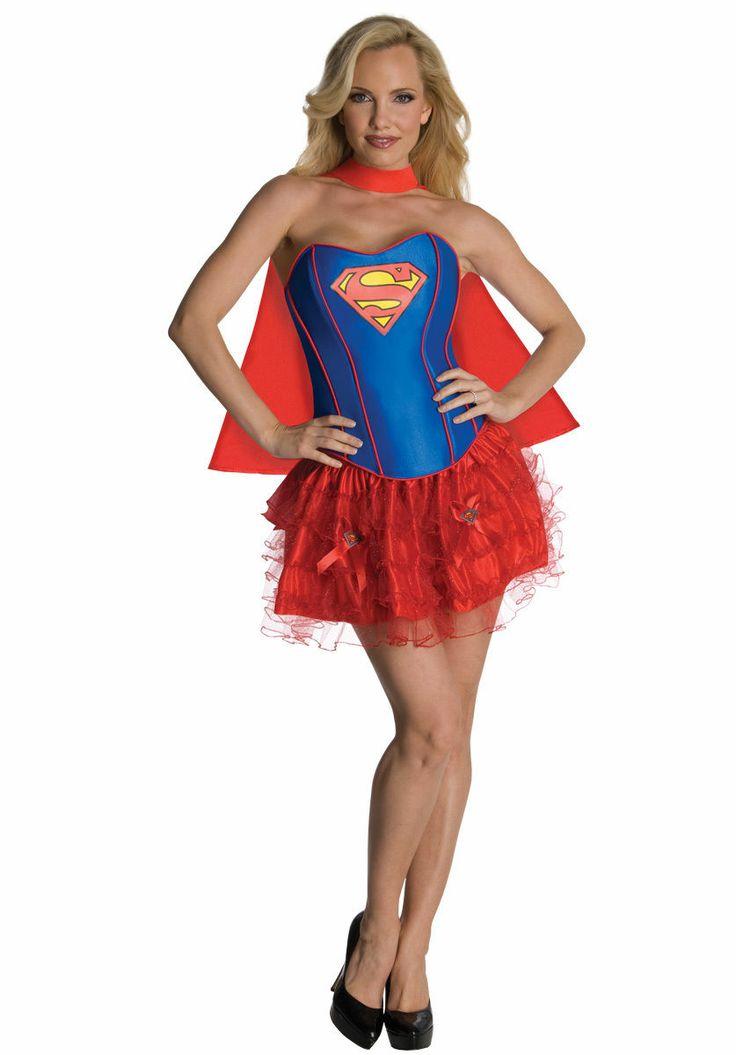 Female Womens Superhero Fancy Dress Costume Corset Tutu Batgirl Robin Supergirl | eBay