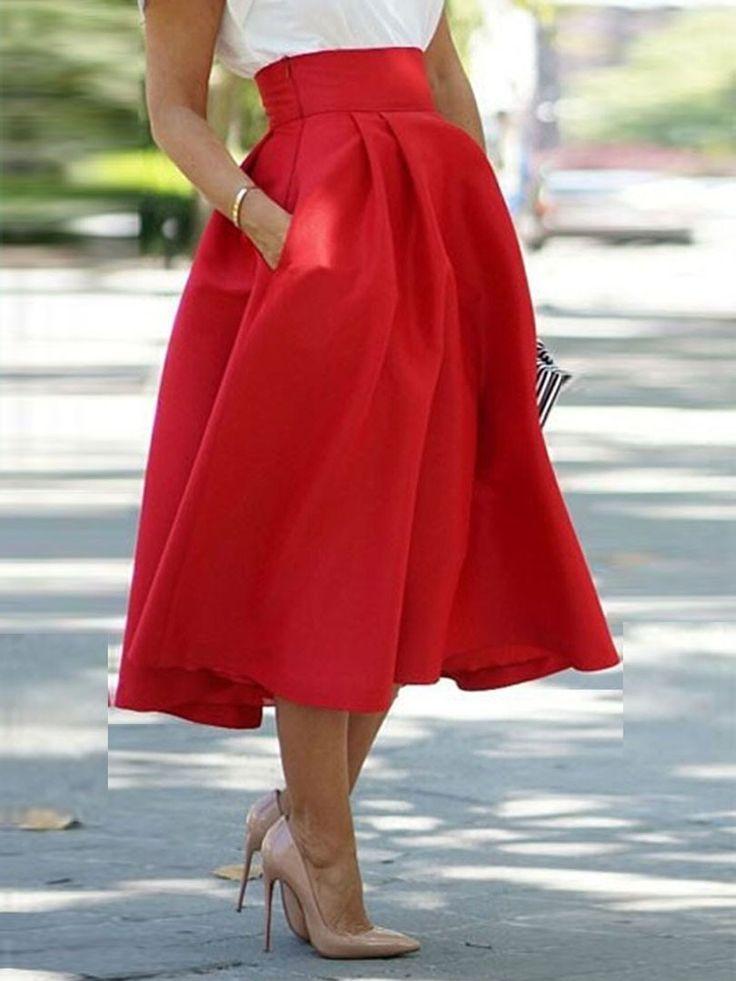 Red,High Waist,Pocket,Skater,Midi Skirt ==