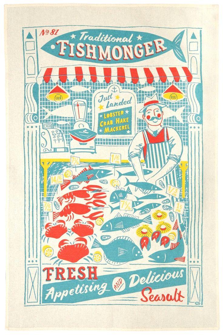 Fishmonger vintage style tea towel print by Matt Johnson for Seasalt Cornwall