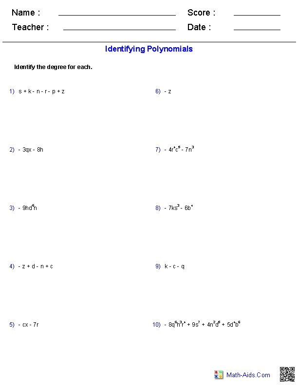 Identifying The Degree Of Monomials And Polynomials Worksheets Polynomials Algebra Worksheets Algebra Polynomials worksheets with answers