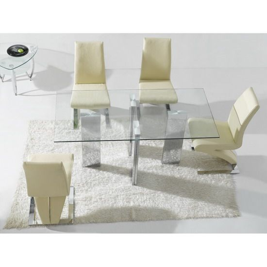 Contemporary Rectangular Clear Glass Dining Table With 6 Z Dining Room  Chairs Http://
