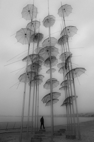 """The Umbrellas"" installation by George Zoggolopoulos in Thessaloniki, Greece. Photo by Stella+S"