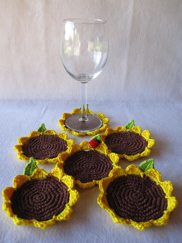 Crochet sunflower coasters, very cute