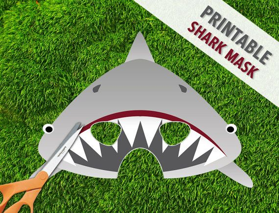 Shark Mask   Printable Jaws Mask   Great White Shark Party Mask