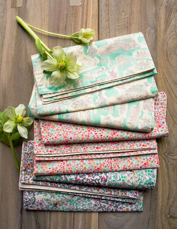 Molly's Sketchbook: Springtime Running Stitch Napkins - The Purl Bee - Knitting Crochet Sewing Embroidery Crafts Patterns and Ideas!