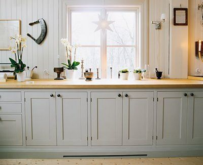 love the cabinet color with the butcher block and white!:)