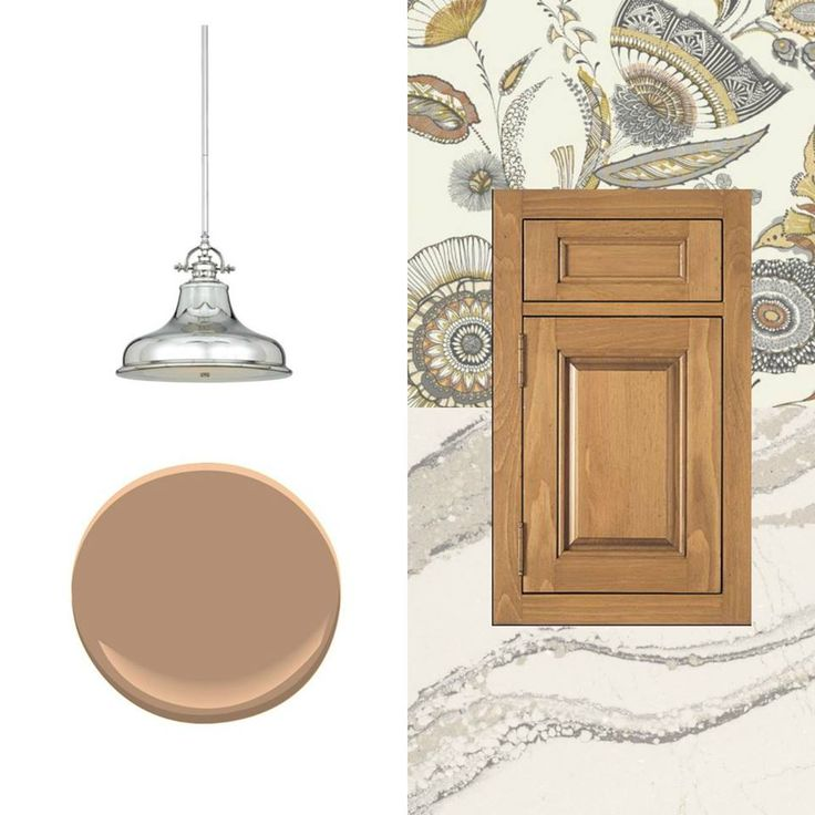 We're taking a cue from the warm caramel hues of fall for this October #moodboard What do you think? Emery Pendant in the finish Imperial Silver @ctlighting Serengeti Sand by @benmoore Catarina in Gold from @wallpaperdirect Cambridge Raised on pine in the finish Toast by @woodmode Brittanicca Marble Collection by @cambria #moodboardmonday #hellooctober #octoberstyle #thekitchencompany #designforlife