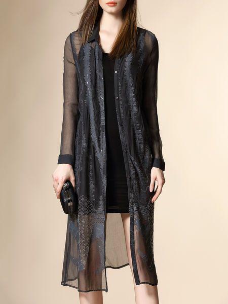 Pierced Silk Midi Dress
