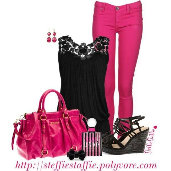 Hot pink and black outfit - 29 Best Hot Pink Nd Black Outfits Images On Pinterest Black