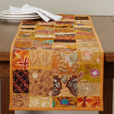 World Menagerie Vizcarra Hand Crafted Cotton and Poly Recyled Sari Table Runner
