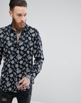 ASOS Regular Fit Viscose Floral Print Shirt
