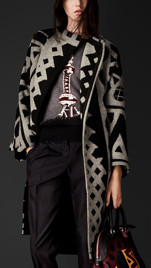 Love the Burberry Prorsum Graphic Jacquard Blanket Coat!