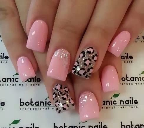 Soft pinks nails and Silver Metallic Leopard Print. O Spa Kelowna, En Vogue Gel Nails and Lac Sensation Manicures
