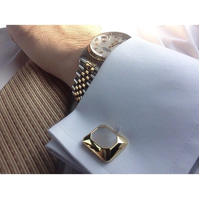 Mother Of Pearl Sterling Silver Cufflinks 18k Yellow Gold