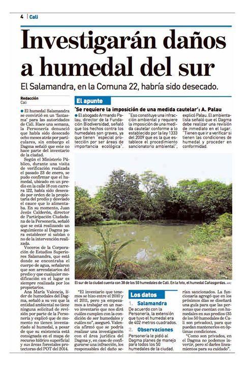 [Prensa] Constatamos que el Humedal Salamandra sí está incluido en el censo realizado por el DAGMA. | Vía ADN Cali