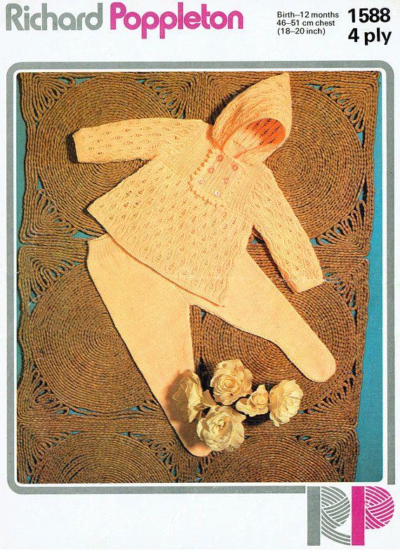 PDF Vintage Baby Knitting Pattern Angel Dress & Leggings Pixie