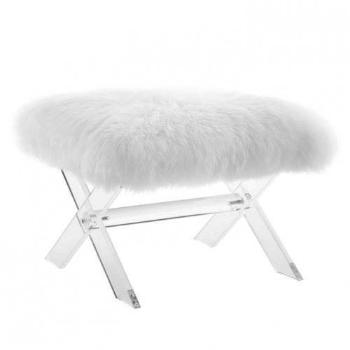 White Sheepskin Ottoman Footstool Acrylic X Base