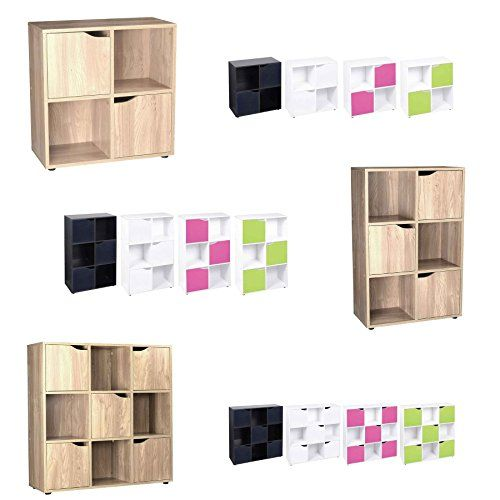 Cube Shelving Unit - Wood Bookcase with Doors - Boys & Girls Bedroom Furniture - 3 Sizes - 5 Colours---21.49---