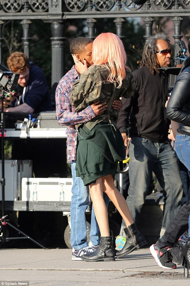 Steamy: Cara Delevingne shared a kiss with young actor Jaden Smith on the Totonto set of L...