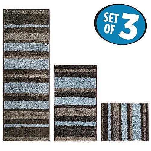 Bathroom Rugs Ideas | MDesign Stripes Microfiber Bathroom Shower Accent Rug  Spa Standard Short Set Of