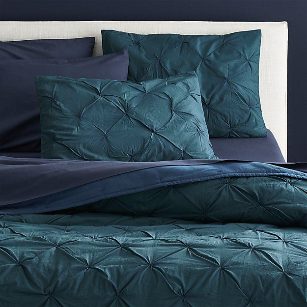 Shop prisma blue-green bedding.   Delicate navy lines gather in an optic screenprint that looks like a graphite pencil sketch on 100% teal cotton.