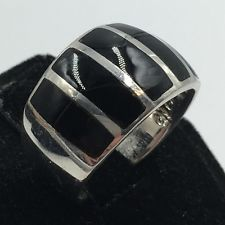 Sterling Silver 925 Black Onyx Stripe Inlay Ring Size 7