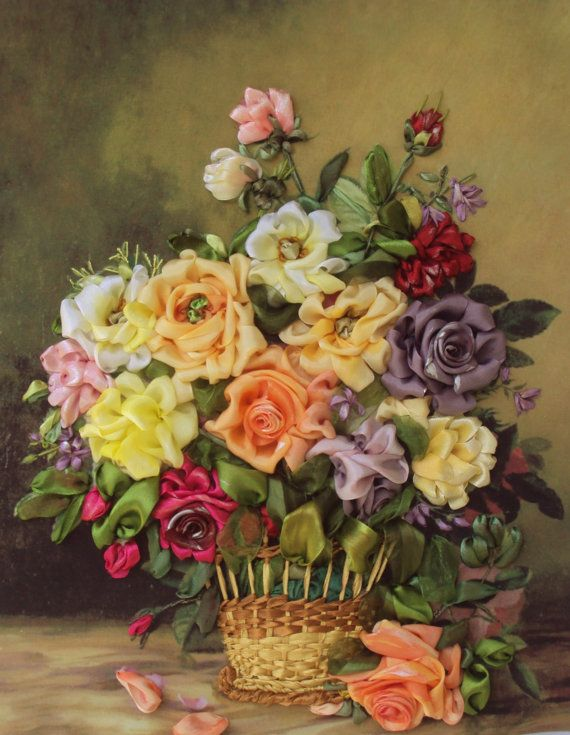 Quadro Floral Still Life 2made with ribbon by SilkRibbonembroidery, €100.00