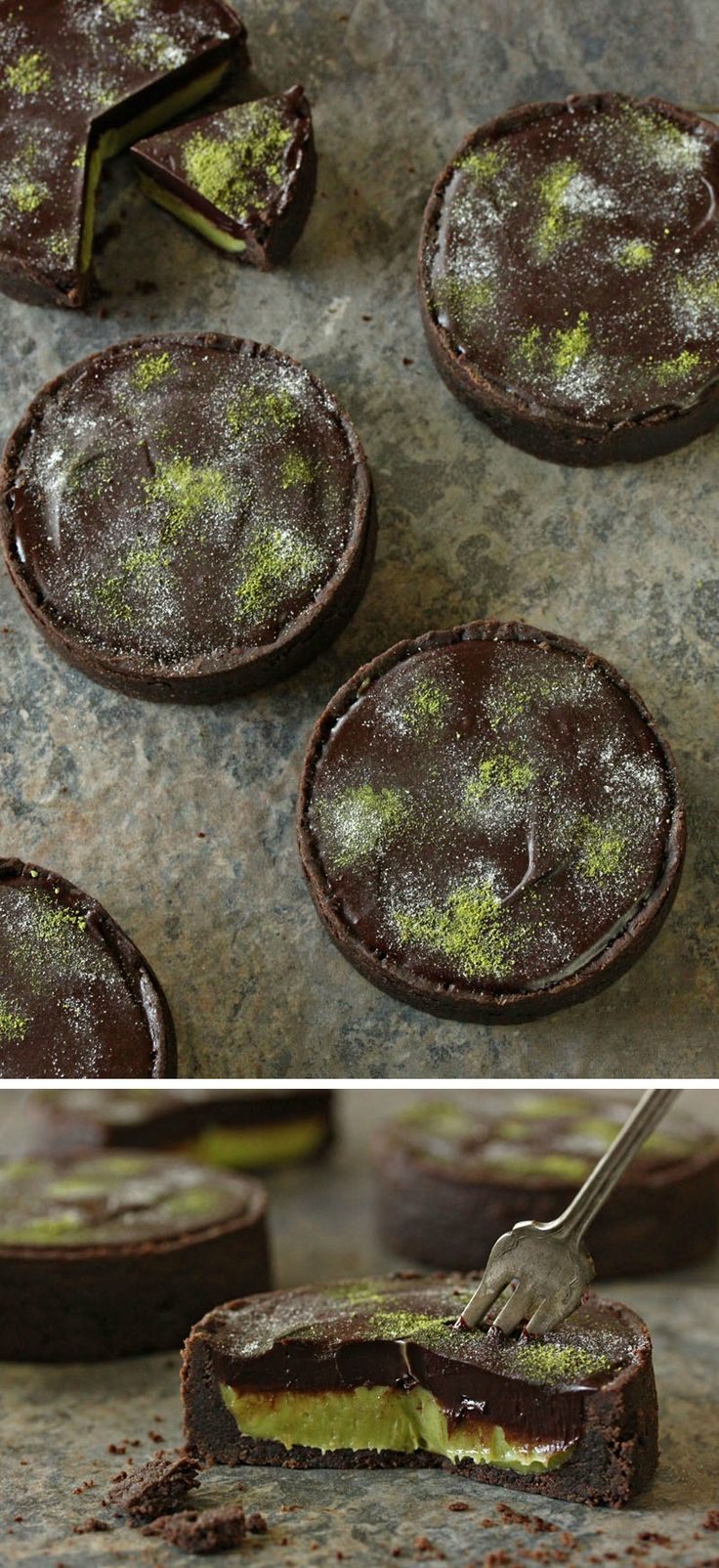 """Moldy"" Matcha Chocolate Tarts - the perfect spooky food for Halloween, or enjoy them year-round without the decoration on top! 