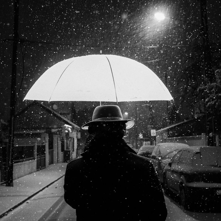 Photograph balade sous la neige by rv bo on umbrella ❤ 〰 b w photo