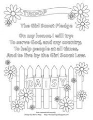 daisy troop coloring sheets girl scout pledge coloring page