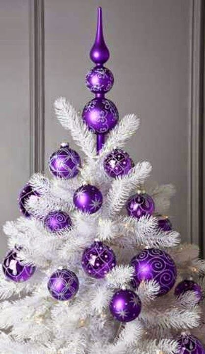 115 best images about christmas tree ideas on pinterest - White and purple decorations ...