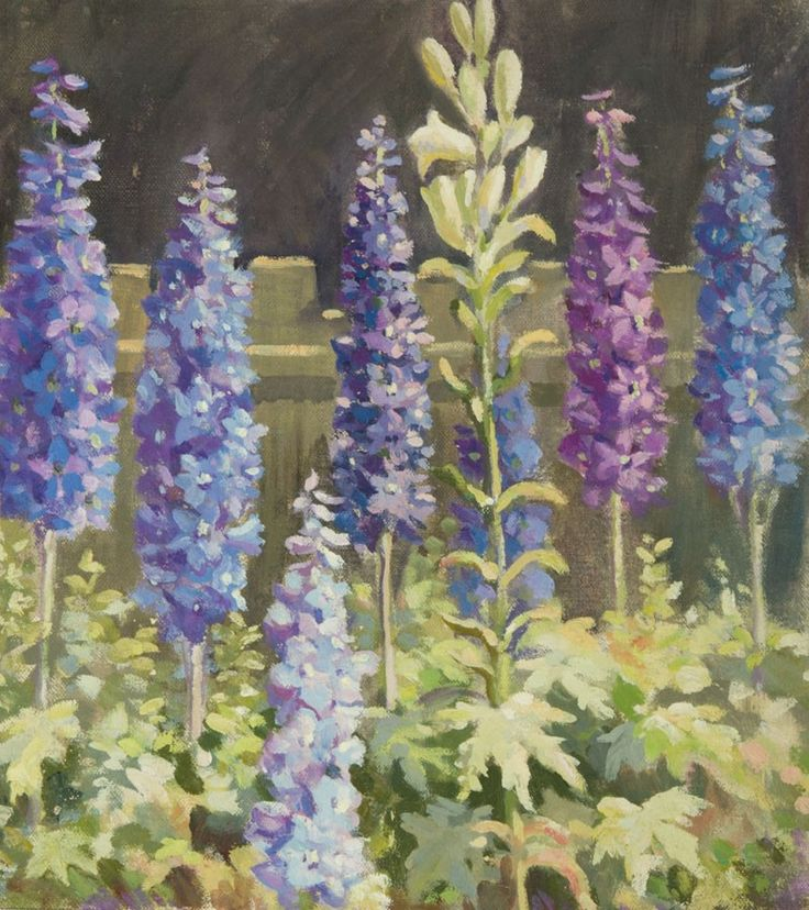 "Harold Dearden (1888-1962) - Mid 20th Century Oil, Purple Foxgloves.Harold Dearden (1888-1962) - Original Mid 20th Century Oil. Painted on a section of canvas - not on stretchers. Unsigned.     Harold Dearden studied at the Rochdale School of Art under H. Barrett Carpenter from 1905-1910, then at the Royal College of Art, London under Gerald Moira. He was head of the Swindon Art School for over 30 years. His work is in the Museum of London and the Swindon Art Gallery.    (13.2"" x 13.7"")"