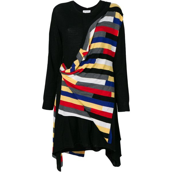 Sonia Rykiel draped stripe sweater dress (705 CAD) ❤ liked on Polyvore featuring dresses, black, trapeze dress, striped dress, short sweater dress, multi coloured striped dress and long-sleeve sweater dresses