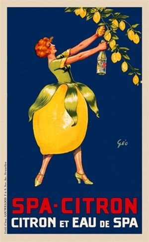 Spa Citron by Geo 1930 Belgium - Beautiful Vintage Poster Reproduction. This vertical Belgian culinary / food poster features a woman in a l...