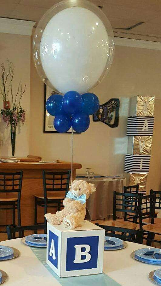 The teddy bear centerpiece at this Baby Blocks, Bears and Bowties Baby Shower is so cute!! What a great idea! See more party ideas and share yours at CatchMyParty.com