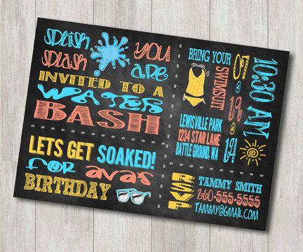 Water Party Birthday Invitation Water by GracefulCelebrations