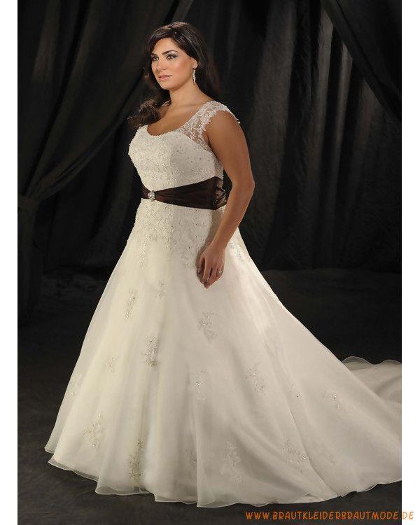 Große schlichte Brautmode aus Organsin und Satin Schulterträger mit korsett und A-Linie Rock mit Schleppe und elegantem Gürtel