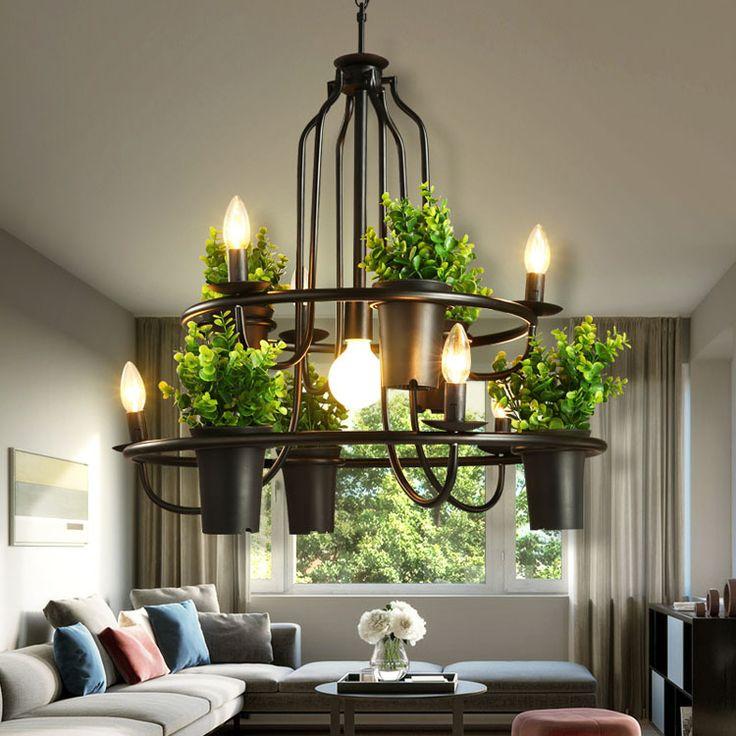 Günstige Amerikanischen Stil Industrielle Kunst Decor Pflanze Blumentopf  Kronleuchter Kreative Wohnzimmer Kronleuchter Café Bar Hängeleuchte,