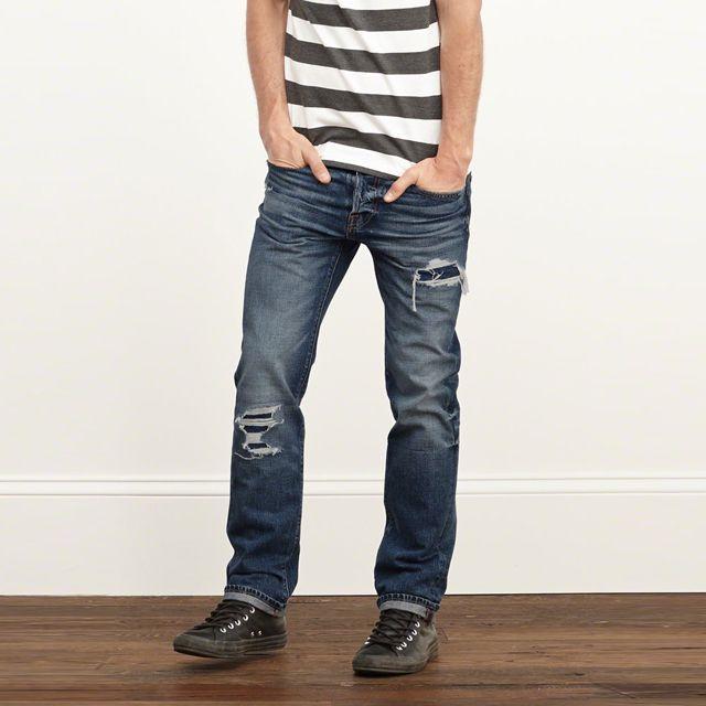 アバクロンビー&フィッチ メンズ スリム ストレート ジーンズ / A&F Slim Straight Button Fly Jeans Destroyed Medium Wash
