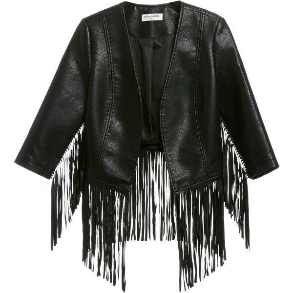 Glamorous Vegan Leather Fringe Jacket (6,515 INR) ❤ liked on Polyvore featuring outerwear, jackets, black, fake leather jacket, black jacket, synthetic leather jacket, vegan jackets and vegan leather jacket