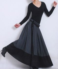 Gray Wool Wrap Skirt Winter Maxi Pleated Full Skirt por xiaolizi