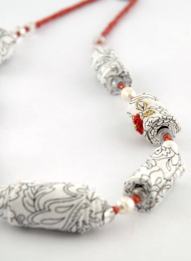 White Lyrics- Embroidered Cotton beads Necklace