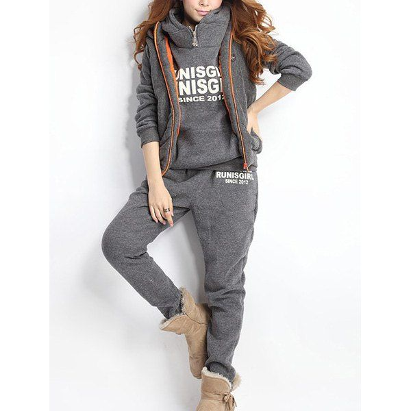 $25.93 Women Autumn Stylish Hoodies Suit Thickening Sports Hoodie Hoody   Pant   Vest 3pcs
