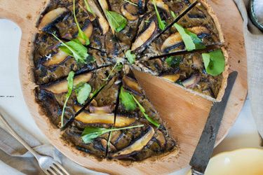 Mushroom, thyme and pecorino tart with buckwheat pastry
