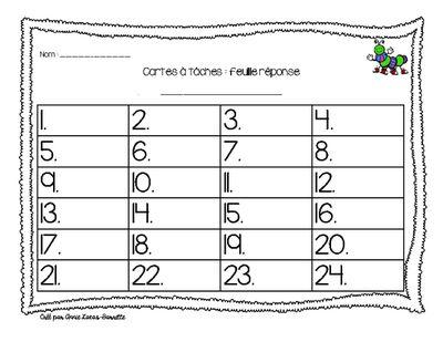 Feuille réponse cartes à taches - French answer key task card from abarrette on TeachersNotebook.com - (1 page) - Une feuille réponse pour n'importe quelle carte à tâches.